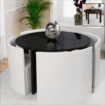 Gain De Place Noir Table Et Chaise Blanche 4 Places Ronde Salle À ...