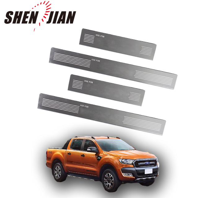 304 stainless door sill scuff plate kit for RANGER truck auto accessories