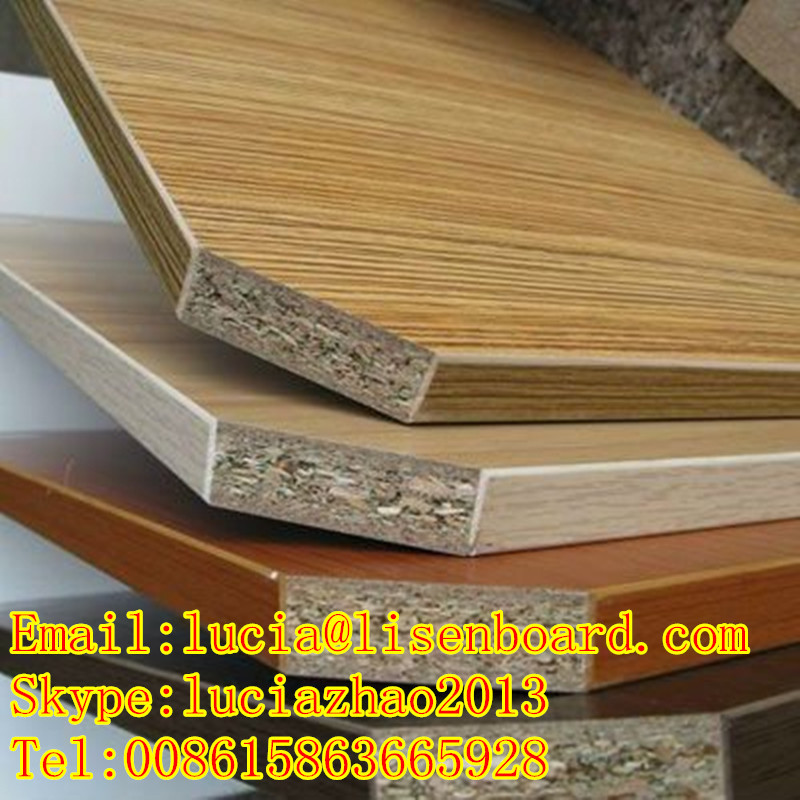 Wood veneer faced melamine faced or plain particle board for Particle board laminate finish