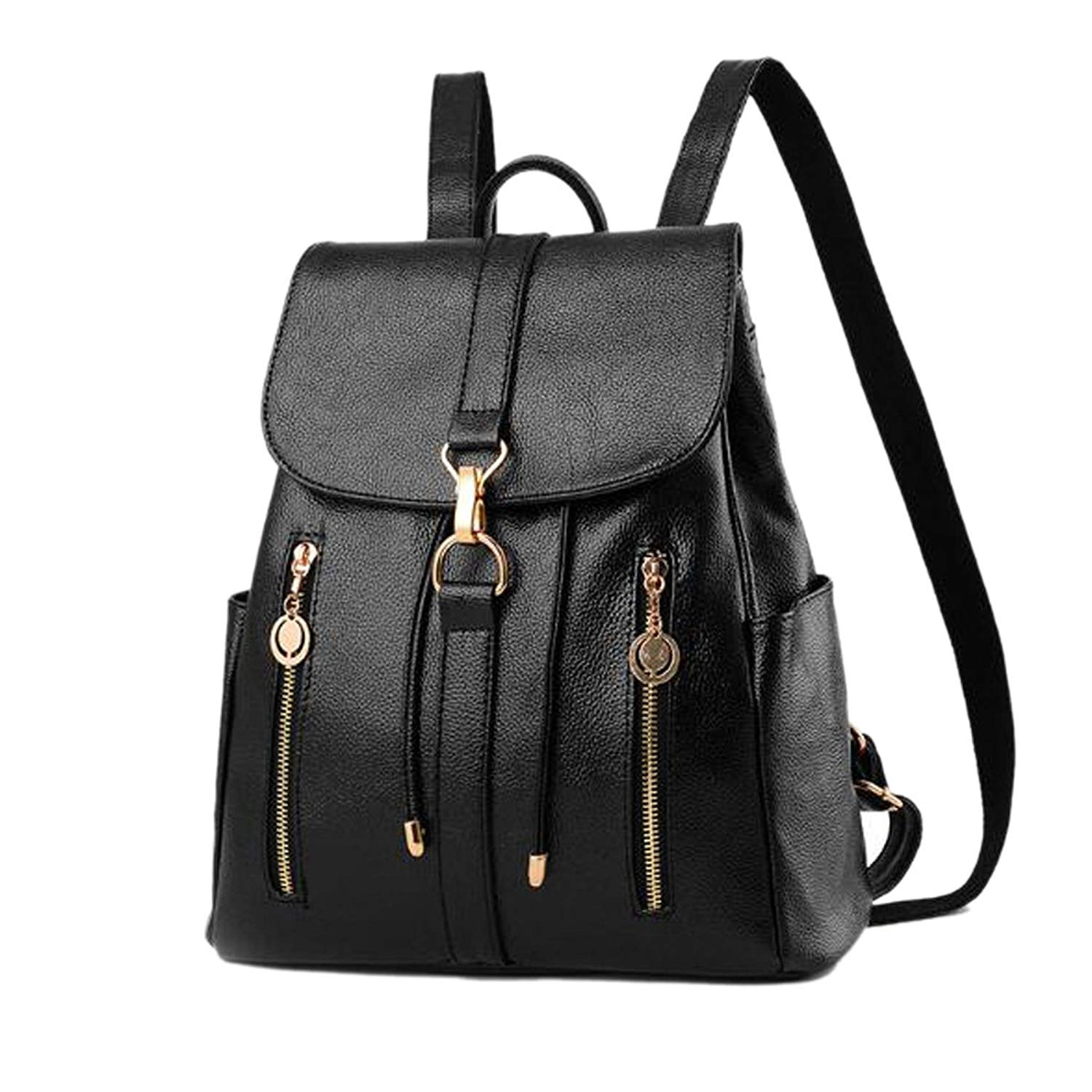 991f24b396e9 Get Quotations · Woman New Style Backpack College Style Large Capacity  Black Soft Zipper Solid Color High-grade