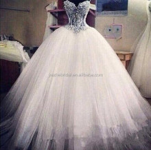 Putri Sayang Wedding Dresses Sheer Luxury Beading Tulle A-line Bola Wedding Gowns