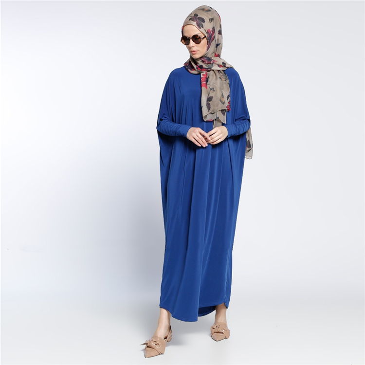 2018 islamic loose dress malaysia indonesia bat sleeves long dress blue dubai kaftan abaya muslim women maxi dress