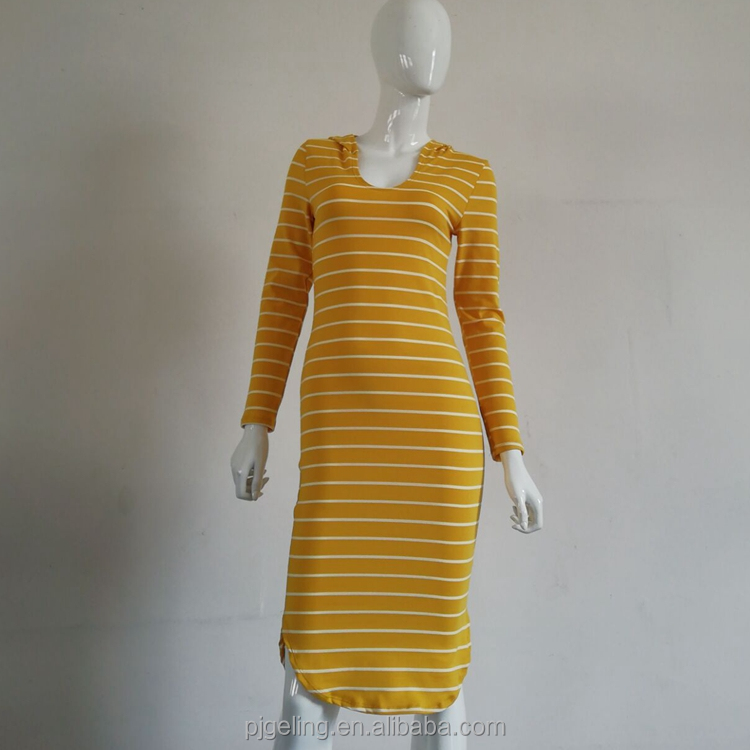Autumn Winter Design Long Sleeve White Stripe Yellow Polyester Spandex Fashion Women Dress With Hood