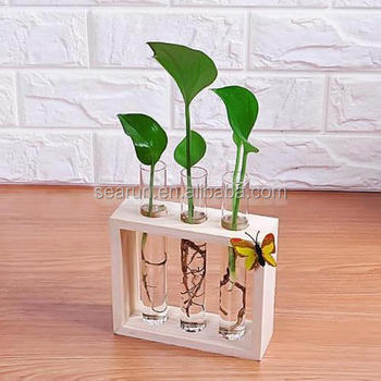 Wood Test Tube Vase Wooden Stands Flower Pots Home Office Table