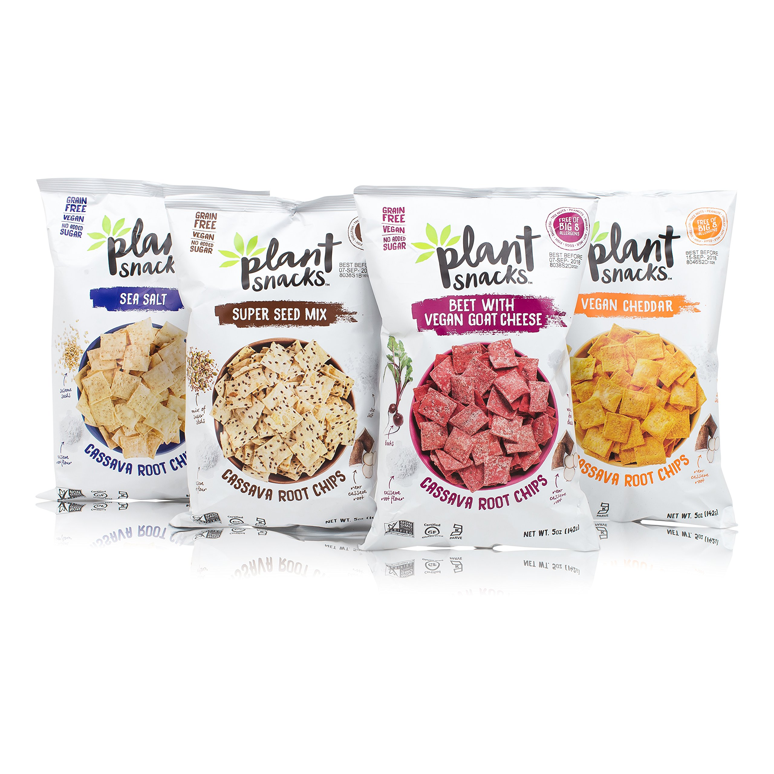 Plant Snacks Variety Pack - Cheddar, Sea Salt, Beet with Goat Cheese, Super Seeds Cassava Root Chips, Vegan, Big-8 Allergen Free, Non-GMO, Gluten Free, Grain Free, No Added Sugar, 5 oz Bags, Pack of 4