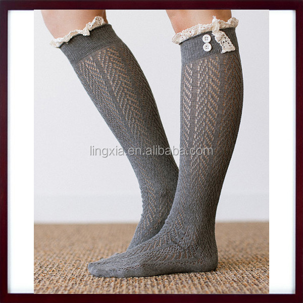 Lace Boot Socks Cotton Knee High Socks With Ivory Crocheted Lace