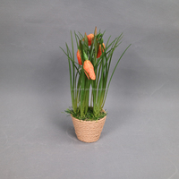 wholesale flower bonsai Artificial fritillary flowers potted in straw plaiting article pot
