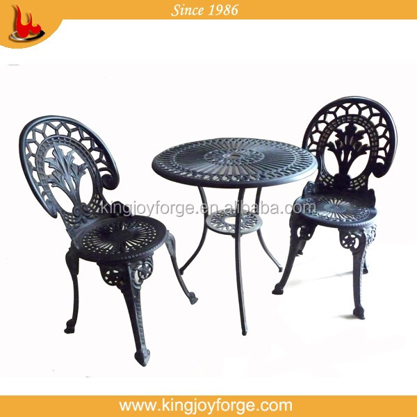 Outdoor furniture Cast Aluminum Bistro Sets with bright yellow color