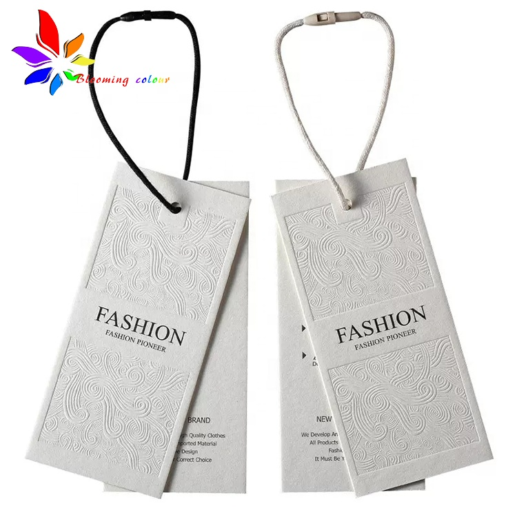 High end custom logo clothing garment hang tag with plastic seal string