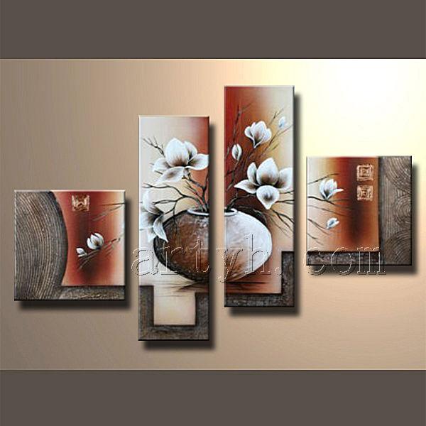 Moderne Groupe Peinture à L Huile De Fleur Belle Peinture