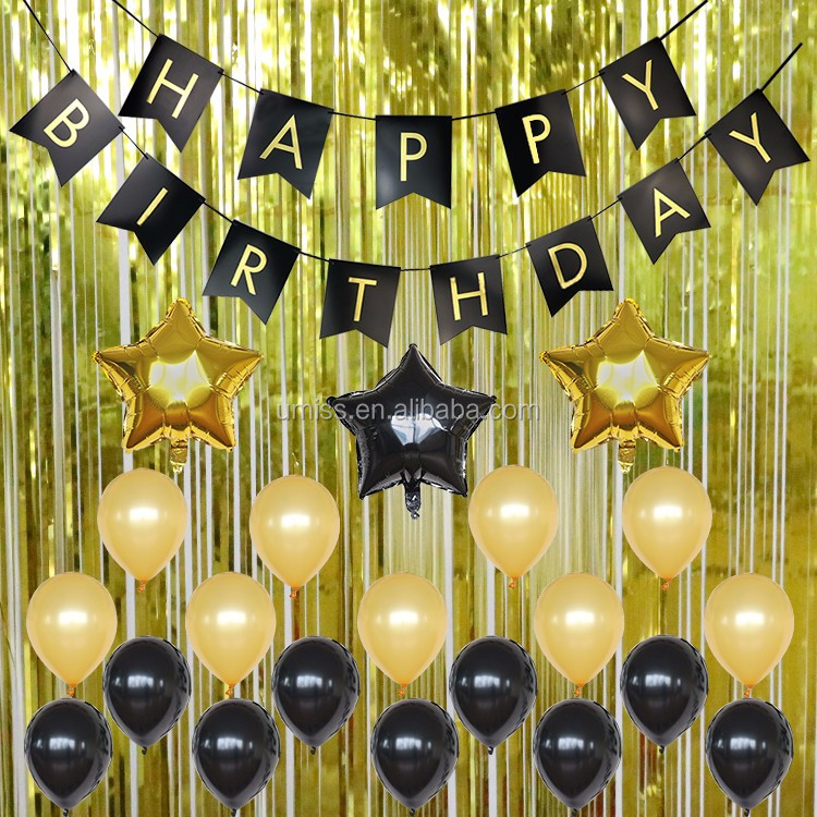Umiss Black Gold Decoration Kit Metallic Foil Fringe Curtains 30th 40th 50th Birthday Party