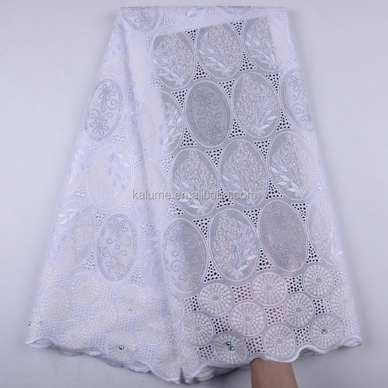 Newest High Quality Swiss Cotton Voile Lace Austria 2019 Voile Swiss Lace Fabric African Swiss Cotton Voile With Beads  1486