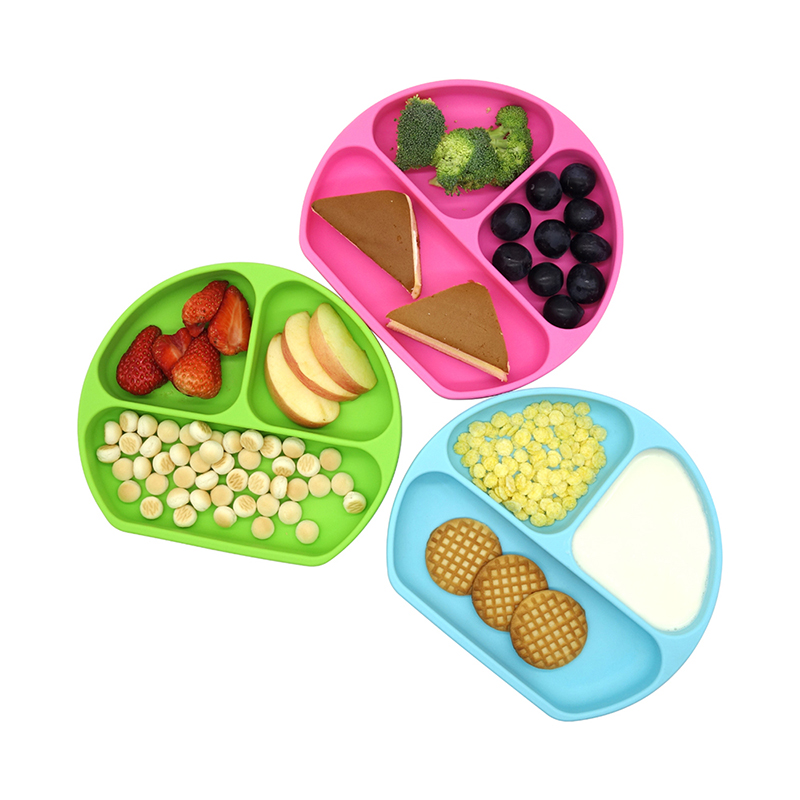 Amazon Hot BPA Free Kids Toddler Divided Bowl Dinner Suction Placemat Baby Feeding Bowls Dishes Silicone Baby <strong>Plate</strong>