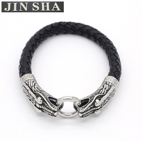 Cheap Price Fashion Men Bangle Jewelry Handmade Stainless Steel Snake Leather Bracelet