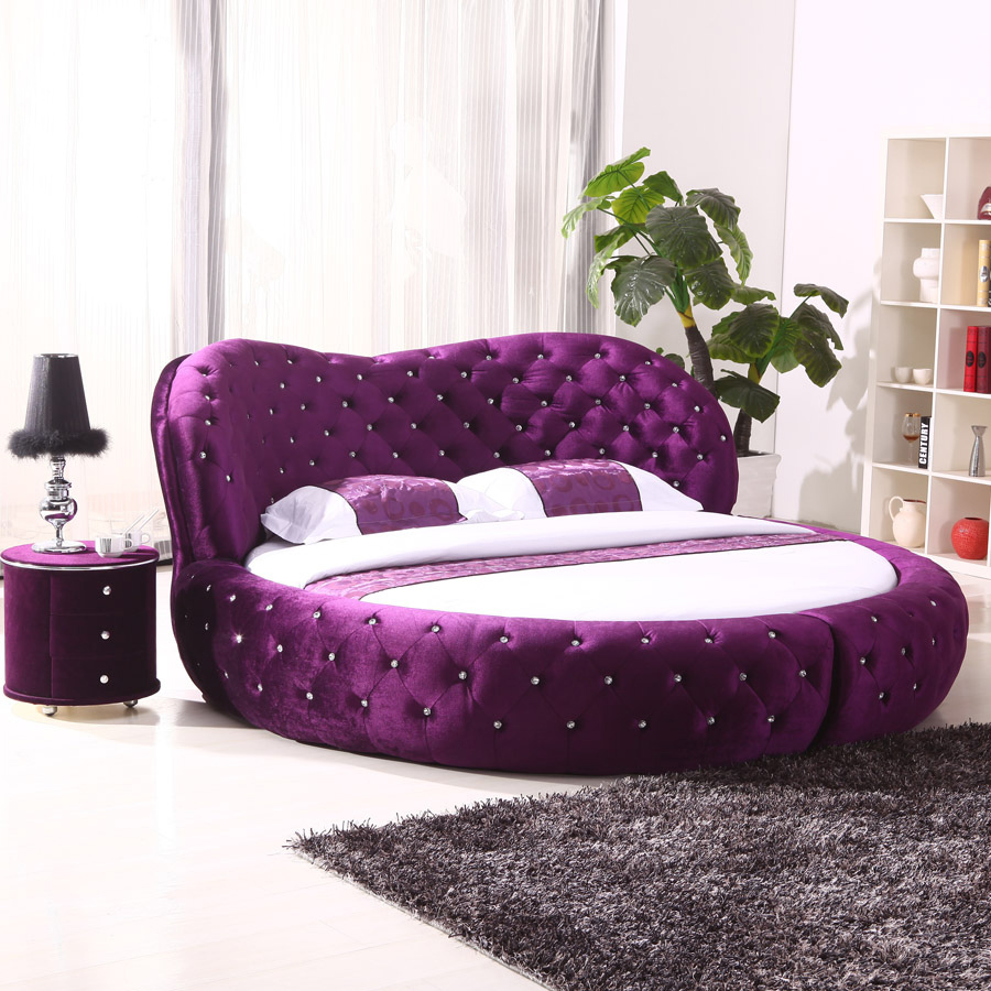 White purple cheap king size hot sell round beds for sale for Cheap double beds