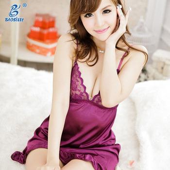 f5a1bef51 Silk Slip Lace Sleepwear Transparent Sexy Night Dress For Woman ...