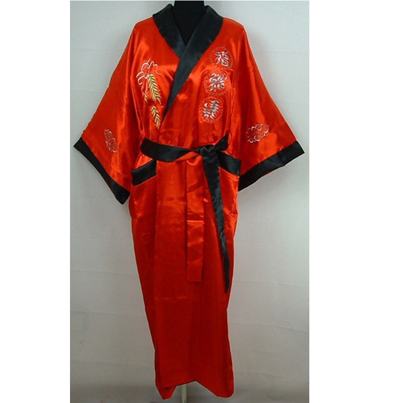 309b435dae Novelty Reversible Red Black Men s Bath Gown Chinese Embroidered Dragon  Nightwear Two-Face Kimono Gown One Size