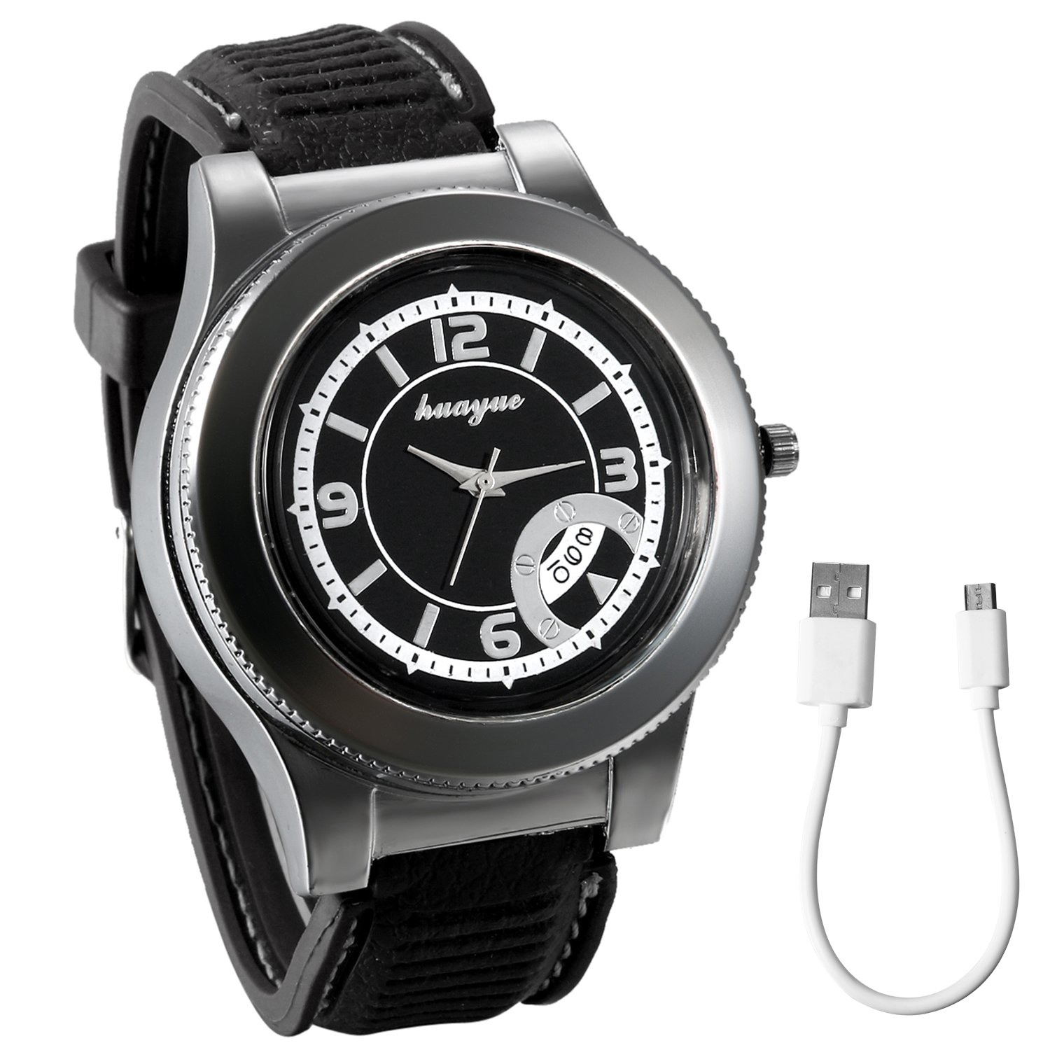 JewelryWe Mens Novelty Cigarette Lighter Watch Windproof USB Charging Quartz Wrist Watch for Fathers Day Gifts