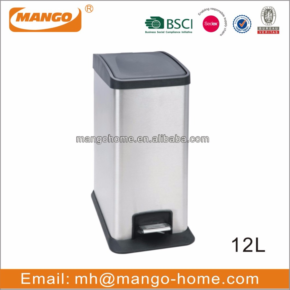 Rectangular Plastic Lid Stainless Steel Recycling Waste Bin
