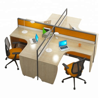 L Shaped Office Workstations Linear 4 Person Workstation With Cubicle