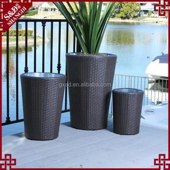 Waterproof Resin Wicker Round Tall Garden Planter Outdoor Patio Decorative Pots Plant