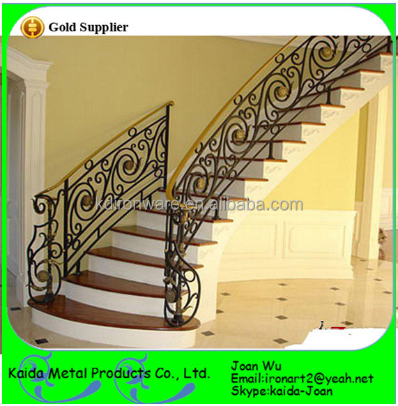 Whole Wrought Iron Metal Stairs Railings Design With Scrolls Panels Decoration