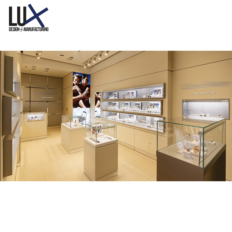 Wholesale Jewelry Shop Furniture Design Glass Display Showcase LED Jewellery Shop Display For Sale