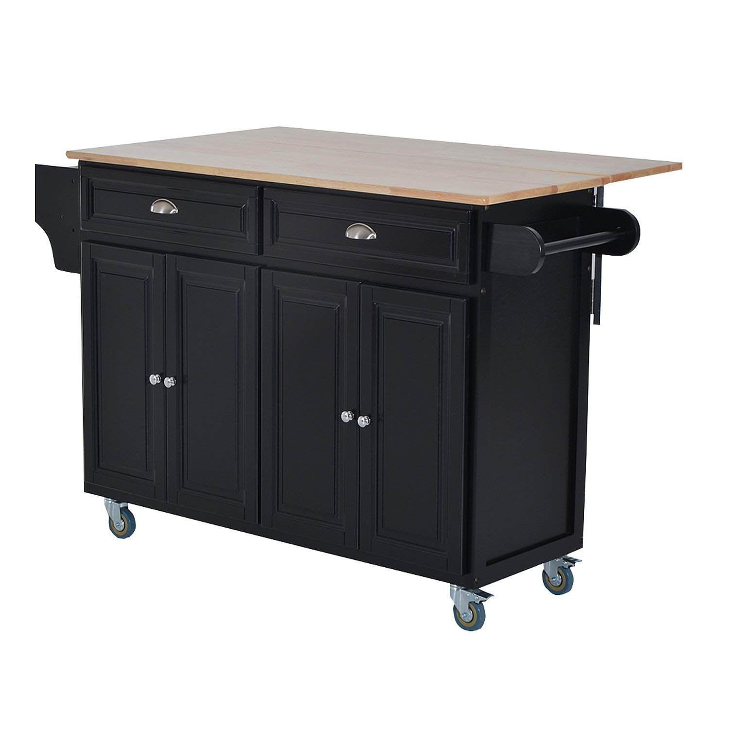 HOMCOM Wooden Top Drop-Leaf Rolling Kitchen Island Table Cart with Storage Cabinets - Black