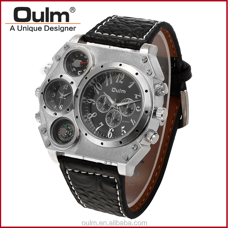 hotsale oulm wrist watch, luxury design men watch, watches men dual time