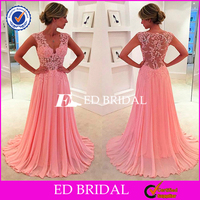 2016 Pink Chiffon Prom Dresses Sheer Lace Applique Top V Neck Long Elegant Evening Gowns