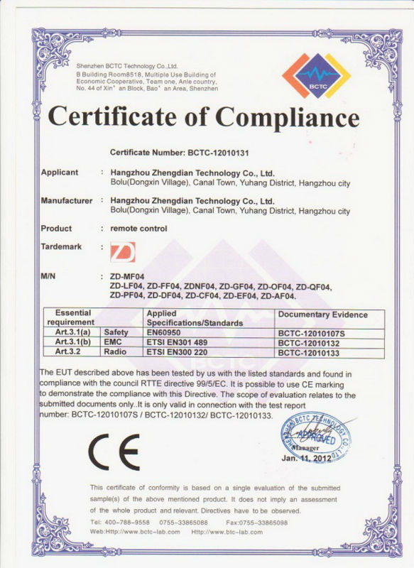 Made in China rf universele 2 ch AC/DC 12-24 v afstandsbediening