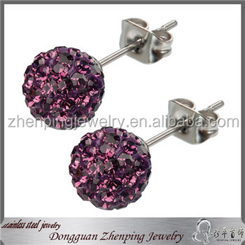 2014 fashion jewelry stainless steel earring with diamond