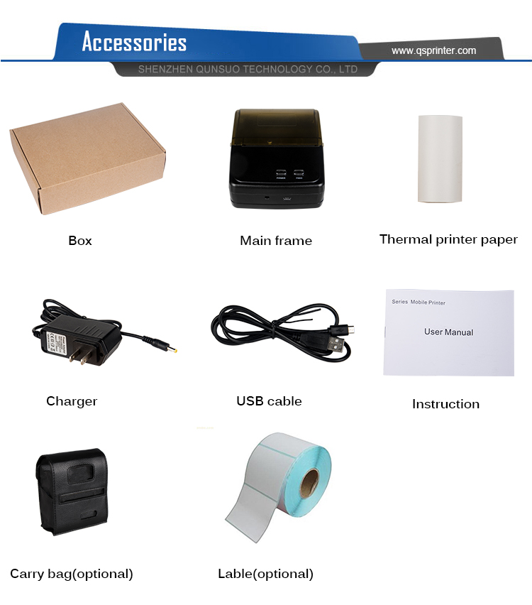 Portable Android 80mm receipt thermal bluetooth Printer