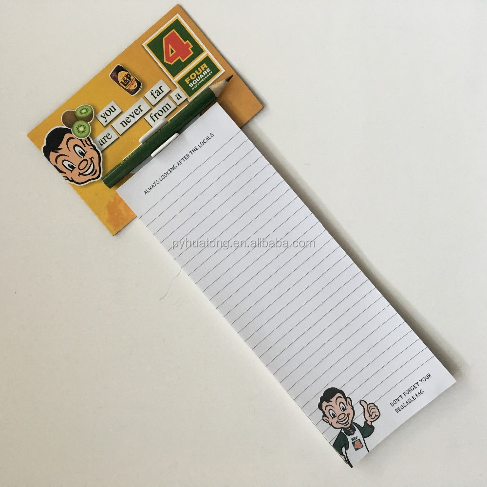 refrigerator magnetic shopping list pad/writing pad with pen