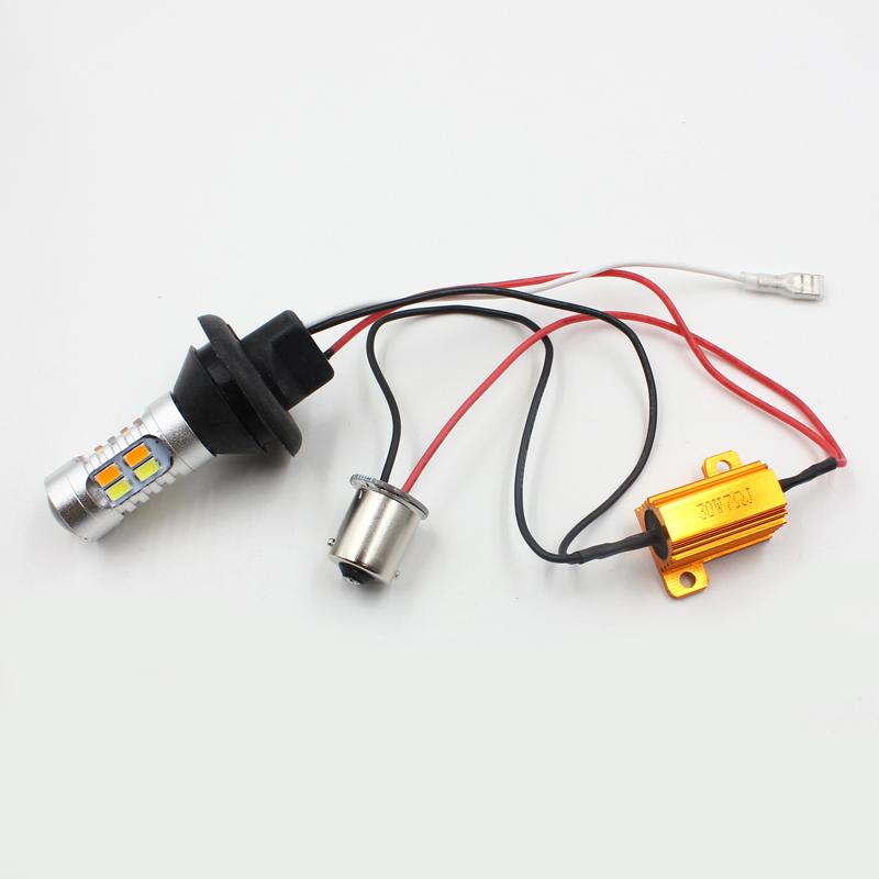 7014 66 LED SMD 1156 BAU15S Dual-Color Switchback DRL Turn Signal Light Lamp SET