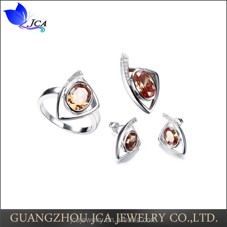 Fashion oval shape 925 sterling silver jewelry set
