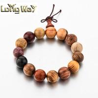 Handmade Custom Bracelet Big Bead Elastic Wood Bracelet