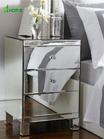 mirrored bedside table chest of 3 Drawers Mirrored nightstand