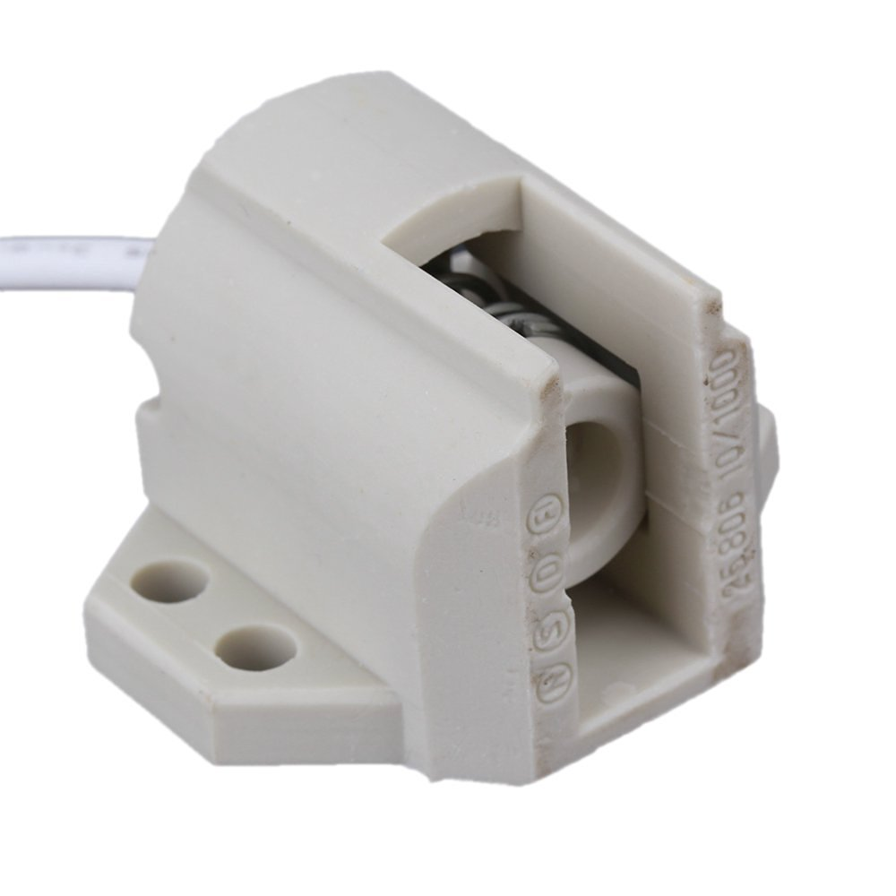 BQLZR R7S Socket Ceramic Lamp Holder Base for Double-ended Metal Halide Lamp DIY Projector White Pack of 2