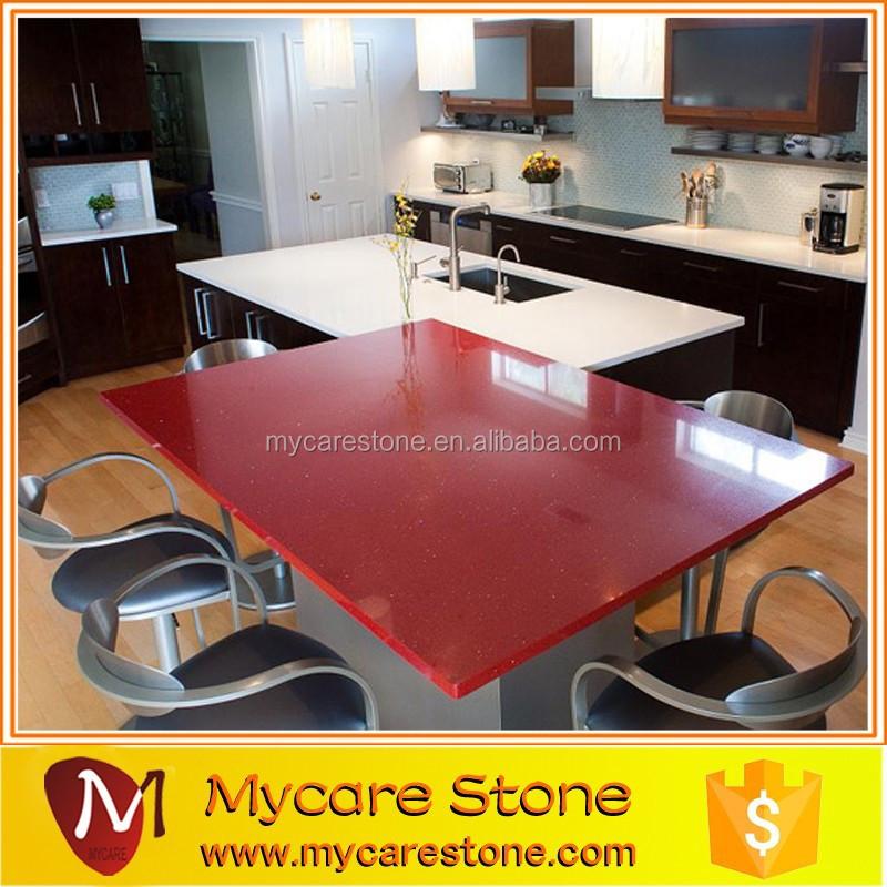 Cucina di design impressionante di pietra di quarzo rosso island ...