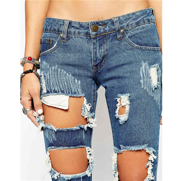 Ladies Pure Cotton Denim Low Rise Skinny Jeans Distressing Ripped ...