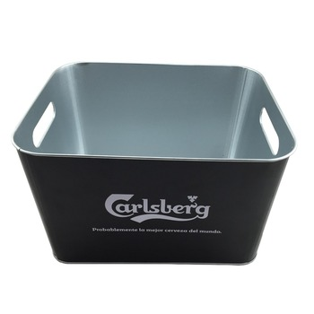 Black Rectangular Ice Bucket Metal Matt