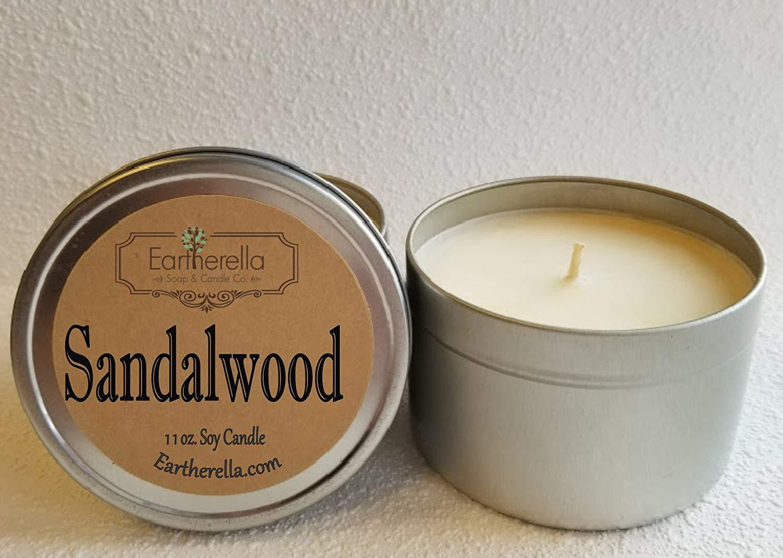 SANDALWOOD Natural Soy Wax 11 oz. Tin Candle, long 60+ hour burn time, rose, cedar, jasmine, very strong