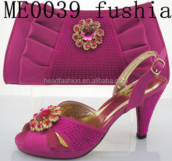 816e41953863 latest fushia wedding wholesale african shoes and bag made in China italian  women shoes and bag