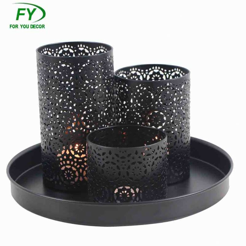 Set of 3 plate black tealight wedding hurricane metal decorative candle holder