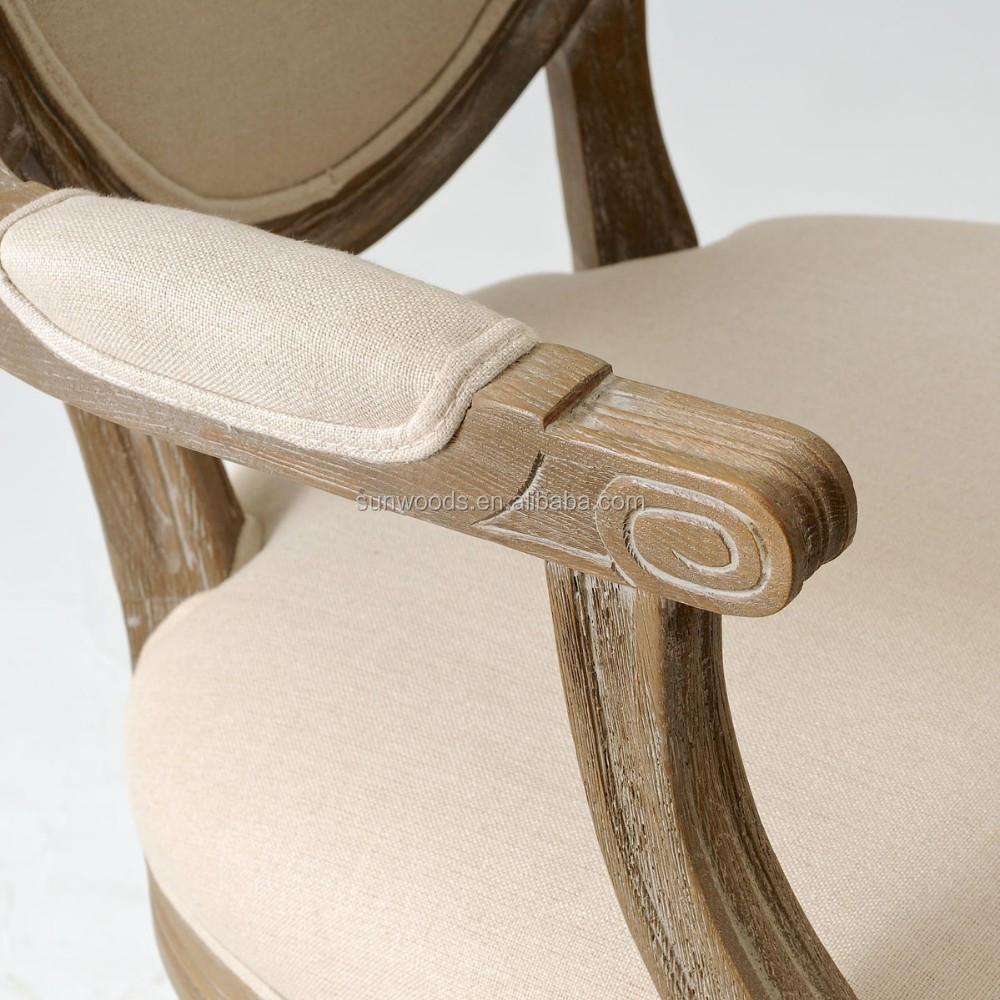 Franse landelijke ovale linnen dineren fauteuil/franse louis ...