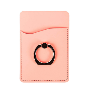 PU Leather Custom Cell Phone Card Holder With Ring Stands
