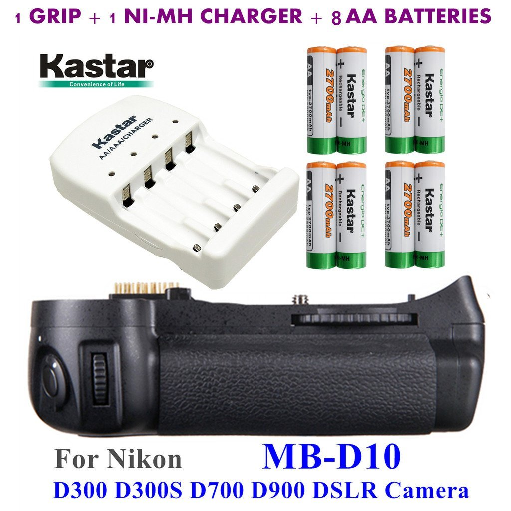 Kastar Pro Multi-Power Vertical Battery Grip (Replacement for MB-D10) + 8x AA NI-MH Batteries(2700mAh) + NI-MH Charger for Nikon D300 D300S D700 D900 Digital SLR Camera