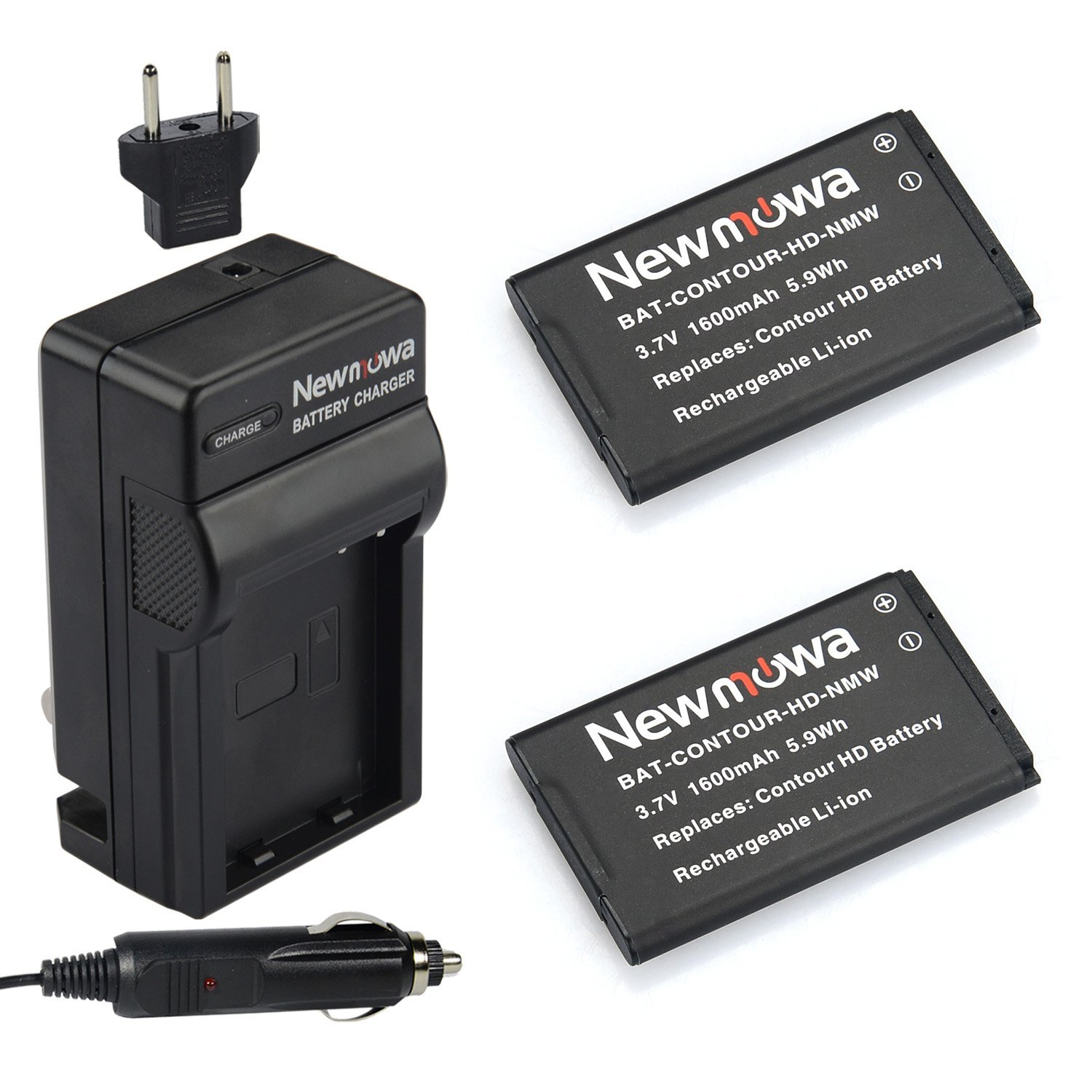 Newmowa CT-3650 Battery (2-Pack) and Charger kit for Contour CT3650, GPS, HD, HD1080P, HD1200, HD1300, HD1500, HD1600, HD2035, HD2350, HD2450, HD2900, HD3200, HD3300, HD720P