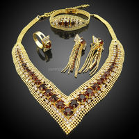 Italian gold plated jewelry bridal sets lead and nickel safe alloy fashion jewelry sets with color stone